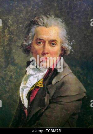 Jacques Louis David, Self Portrait, peinture, 1790 Photo Stock