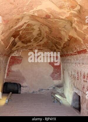 Une photographie prise dans la tombe de Setaou, Showtime, un d'Elkab en Haute Egypte et premier prophète de Nekhbet, dans le 20e dynastie à l'époque de Ramsès III. Elkab, situé à 90 km, au sud de Thèbes. 1169 à 1149 BC. Photo Stock