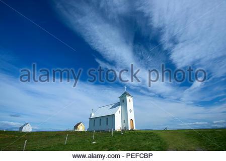 Une église sur l'île de Flatey, la plus grande île de l'ouest de l'îles, situé dans la région de Breidafjordur sur la partie nord-ouest de l'Islande. Photo Stock