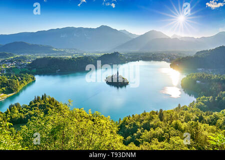 Le lac de Bled, les Alpes Juliennes, en Slovénie Photo Stock