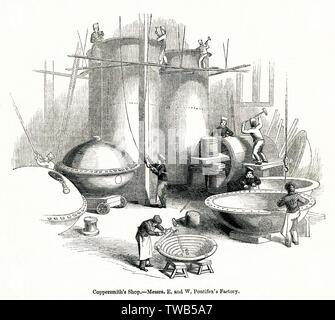 Vue à l'intérieur de l'Pontifex et bois de l'usine de cuivre et de plomb, Shoe Lane, London. Date: 1842 Photo Stock