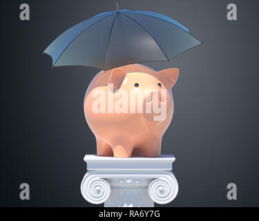 Tirelire sous parapluie. 3D illustration Photo Stock