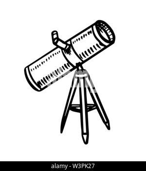 Télescope pour observer l'astronaute les étoiles, les planètes et l'espace. Croquis d'astronomie pour emblème ou logo dans le style vintage. Illustration à la main en rétro Photo Stock