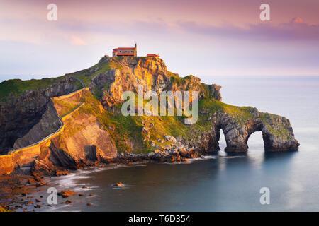 Espagne, Pays Basque, de San Juan de Gaztelugatxe, vue de l'îlot Photo Stock