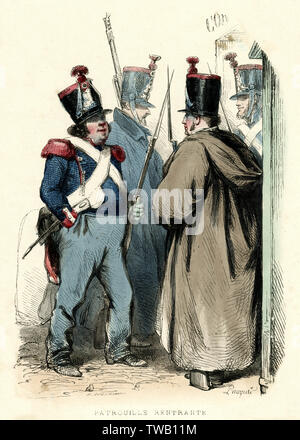 La Garde Nationale française revenant de patrouiller Date: 1850 Photo Stock