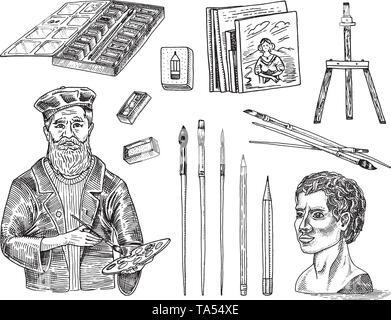 Outils et matériaux de l'artiste pour le dessin dans l'art de beauté. Chevalet, peintures, peintures, pinceaux, crayons. Les créateurs de l'artisanat. Équipements en Doodle Photo Stock