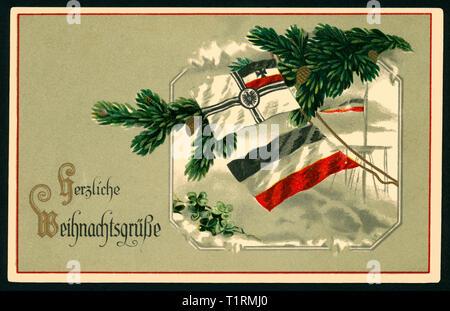 Allemagne, Hambourg, LA PREMIÈRE GUERRE MONDIALE, la propagande patriotique, carte postale de Noël avec le texte: 'plus chaleureuses salutations de Noël ' avec drapeaux allemands et un sapin, carte postale envoyée 22. 12. Additional-Rights Clearance-Info, 1916--Not-Available Photo Stock