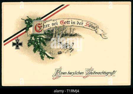 Allemagne, Bremen, LA PREMIÈRE GUERRE MONDIALE, la propagande patriotique, carte postale de Noël avec le texte: 'Ehre sei Gott in der Höhe! Einen herzlichen Weihnachtsgruß? ' ( Gloire à Dieu dans la hauteur! Meilleurs voeux de Noël!) avec un noir-blanc-rouge un ruban d'une croix de fer, carte postale envoyée 23. 12. 1914. , Additional-Rights Clearance-Info-Not-Available- Photo Stock