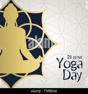 Journée internationale de yoga carte de souhaits d'or woman meditating in lotus pose. Exercice de relaxation l'illustration. Photo Stock