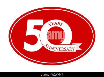50 ans anniversaire inscription sur blue oval, plat design simple Photo Stock