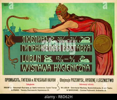 L'exposition d'hygiène, Lublin, 1908. Collection privée. Photo Stock