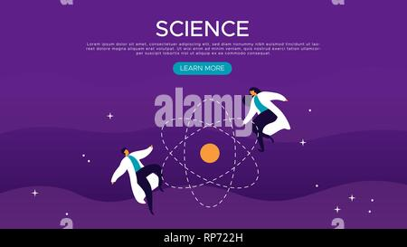 Modèle de page d'atterrissage web sciences scientifique avec l'homme et de la femme dans l'espace. Télévision cartoon style moderne pour l'éducation scientifique concept. Photo Stock