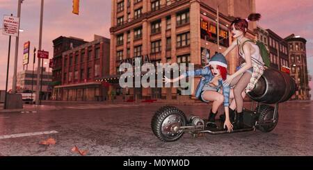 Les filles à cheval à roulettes dans ville futuriste Photo Stock