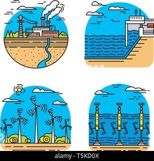 La production d'énergie. Plantes d'icônes. Les bâtiments industriels. Ensemble de sources d'électricité écologique. Photo Stock