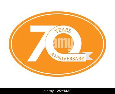 70 ans anniversaire inscription sur ovale bleu, design plat simple Photo Stock