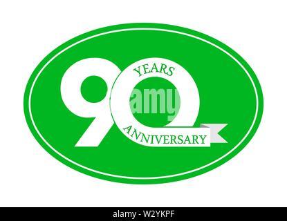 90 ans anniversaire inscription sur ovale bleu, design plat simple Photo Stock