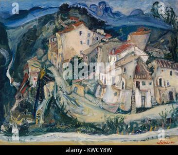 Vue de Cagnes, par Chaïm Soutine, 1924-1925, peinture expressionniste Russe Français, huile sur toile. Photo Stock