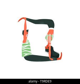 Couple associé ou d'exercices de yoga acro isolé sur fond blanc. Heureux l'homme et la femme l'activité de remise en forme. Photo Stock