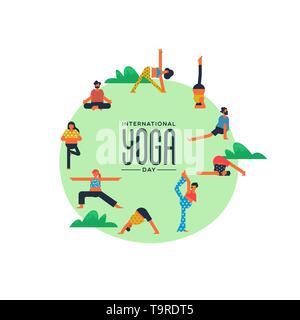 Journée Internationale de Yoga carte diverses personnes faisant de l'exercice dans le parc en plein air. Photo Stock