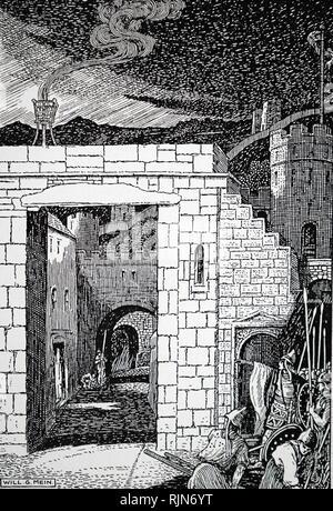 Chute de PLATAEA: la moitié de la garnison de Plataea, après un an d'être assiégé par les Spartiates, se préparant à s'échapper de la ville en pleine nuit et le bruit d'une tempête. 479 BC. Illustration par W. Gordon Mein 1910 Photo Stock