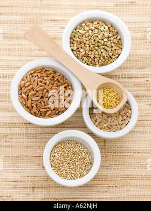 Le sarrasin millet quinoa épeautre et l'orge tourné avec un appareil photo numérique moyen format Photo Stock