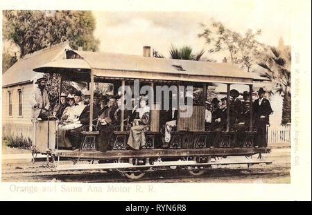 Les trams en Californie, Santa Ana, Californie, 1905, Orange et Santa Ana Motor R. R.', États-Unis d'Amérique Photo Stock
