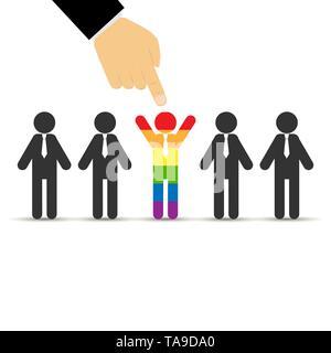 Doigt de la part de points la personne dans la foule peint en couleur LGBT, modèle plat Photo Stock