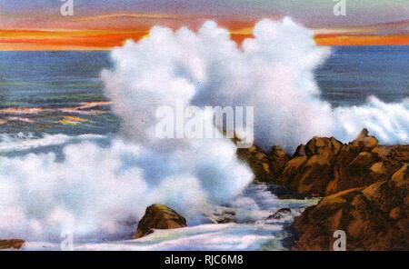 Les disjoncteurs géant sur l'océan Atlantique, Atlantic City, New Jersey. Photo Stock