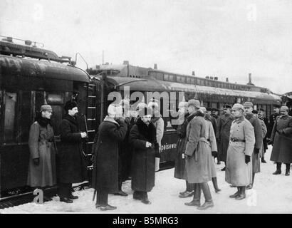 9 1917 1215 A1 19 Brest Litowsk Arrivée Russ delegacy World War 1 1914 18 l'armistice Allemand Russe de Photo Stock