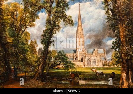 """La peinture intitulée 'Salisbury Cathédrale du terrain"""" par John Constable daté 1823 Photo Stock"""