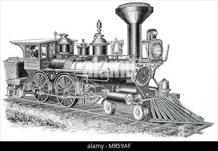 Gravure représentant une locomotive américaine. En date du 19e siècle Photo Stock