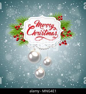 Noël arrière-plan avec vecteur de branches de sapin vert et les messages d'inscription. Joyeux Noël le lettrage Photo Stock