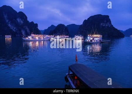Vietnam, golfe du Tonkin, la province de Quang Ninh, la baie d'Ha Long (Vinh Ha Long) inscrite au Patrimoine Mondial de l'UNESCO (1994), emblématiques de reliefs karstiques, les bateaux de croisière Photo Stock