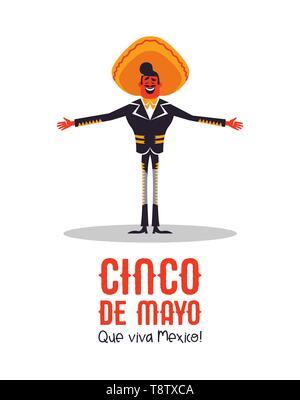 Heureux Le Cinco de Mayo carte de souhaits l'illustration de l'indépendance mexicaine maison de célébration. Cartoon mariachi homme chanteur avec grand chapeau. Photo Stock