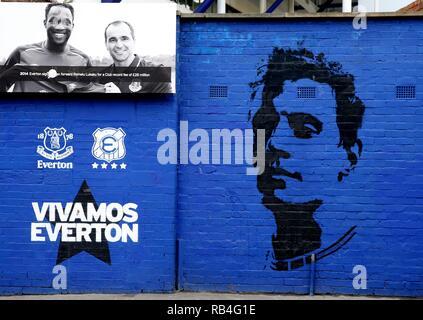 Art, peinture murale Everton FC Everton V LINCOLN CITY, unis en FA Cup, GOODISON PARK, Everton, en Angleterre, 05 Janvier 2019 Photo Stock