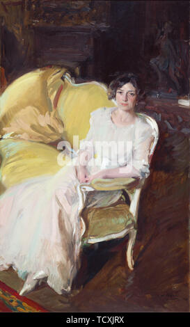 Clotilde assise sur un canapé, 1910. On trouve dans la collection de Museo Sorolla, Madrid. Photo Stock