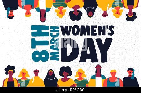 L'illustration pour la journée de la femme heureuse 8 mars. Femme de couleur divers ensemble de groupe sur l'égalité des droits de célébration. Photo Stock
