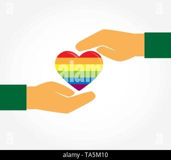 Deux mains protéger la silhouette d'un cœur aux couleurs de LGBT, modèle plat Photo Stock