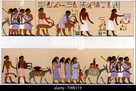 Migration des Sémites en Égypte (la partie inférieure s'aligne avec partie supérieure) Date: vers 1900 av. Photo Stock