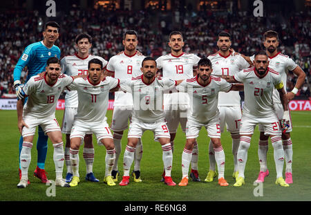 Abu Dhabi, EAU. 20 Jan, 2019. Zayed Sports City Stadium, Abu Dhabi, Émirats arabes unis ; déroulées d football, série de 16, l'Iran et l'Oman ; équipe iranienne Crédit photo : Action Plus Sport Images/Alamy Live News Photo Stock