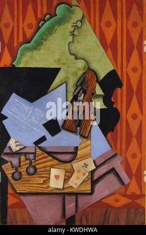 Violon et jouer aux cartes SUR UNE TABLE, par Juan Gris, 1913, l'espagnol la peinture cubiste, huile sur toile. Photo Stock