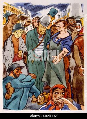 Vignerons français dans une place de la ville, 1944, Illustration par Julien Pavil, (1895-1952), illustrateur français du 20e siècle, humoriste et artiste de l'affiche. Il a illustré plusieurs livres entre 1929 et 1945. Photo Stock