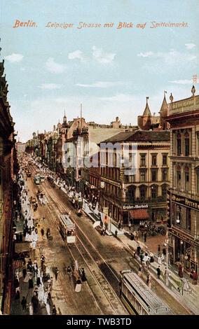 Vue aérienne de Leipzigerstrasse et Spittelmarkt, Berlin, Allemagne. Date: vers 1905 Photo Stock