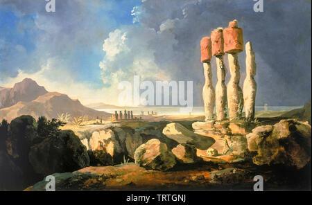 Une vue sur les monuments de l'île de Pâques, rapanui, peinture, 1795 Photo Stock