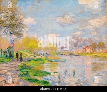 Claude Monet, le ressort par la Seine, la peinture de paysages, 1875 Musée des beaux-arts de la Norvège Photo Stock