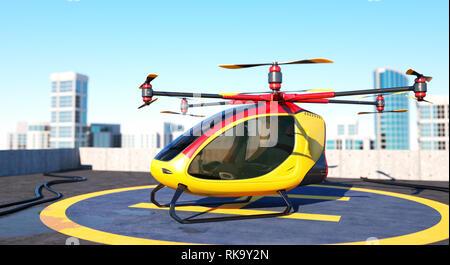Drone passager électrique restant sur le haut d'un immeuble. C'est un modèle 3D et n'existe pas dans la vie réelle. 3D illustration Photo Stock