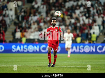 Abu Dhabi, EAU. 20 Jan, 2019. Zayed Sports City Stadium, Abu Dhabi, Émirats arabes unis ; déroulées d football, série de 16, l'Iran et l'Oman ; Harib Al-Saadi d'Oman Crédit : Action Plus de Sports/Alamy Live News Photo Stock
