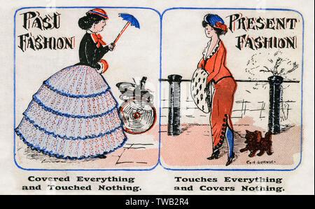 Passé et présent Fashions: Passé Mode - couvrait tout et rien touché; l'actuelle mode - touche tout et couvre rien! Date: vers 1910 Photo Stock