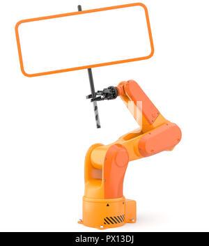 Bras de robot industriel avec blank sign. 3D illustration Photo Stock