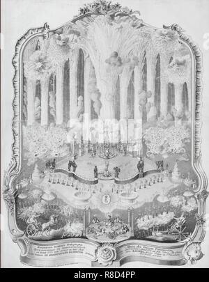 D'artifice de la Neva à Saint-Pétersbourg à la veille du Nouvel An, 1 janvier, 1755, 1755. On trouve dans la collection de musée d'état de A.S. Pouchkine, Moscou. Photo Stock